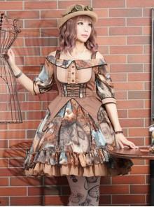 Rabbit Teeth ,Dream Pointer~ Steampunk Lolita Summer Mid-length sleeves OP Dress -The 2nd Round Pre-order