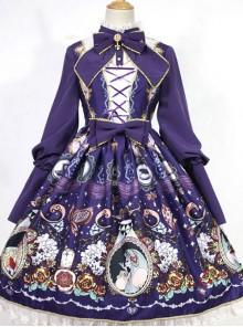 The Opera House at Midnight ~Lolita Stand Collar Long Sleeves OP Dress~Dark Blue