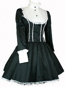 Long Sleeves Black Lolita OP Dress - In Stock