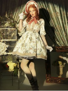 Classical Puppets,Victoria Garden~ Peter Pan Collar Classic Lolita OP Dress