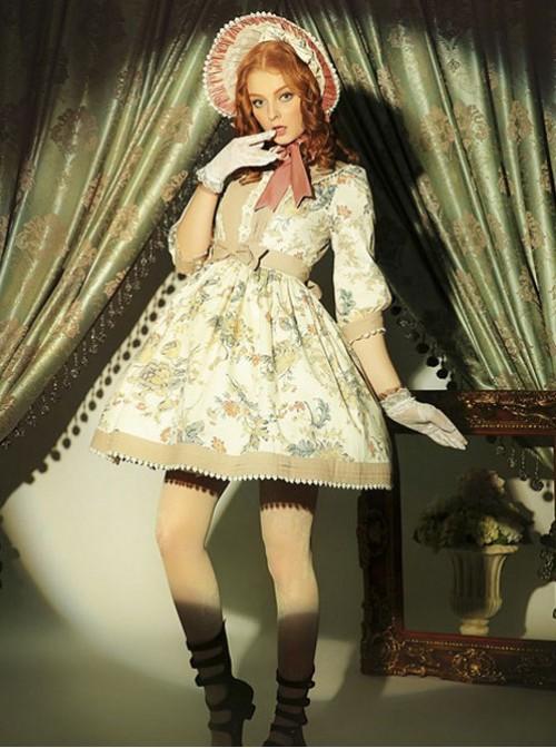 Classical Puppets,Victoria Garden~ Peter Pan Collar Classic Lolita OP Dress