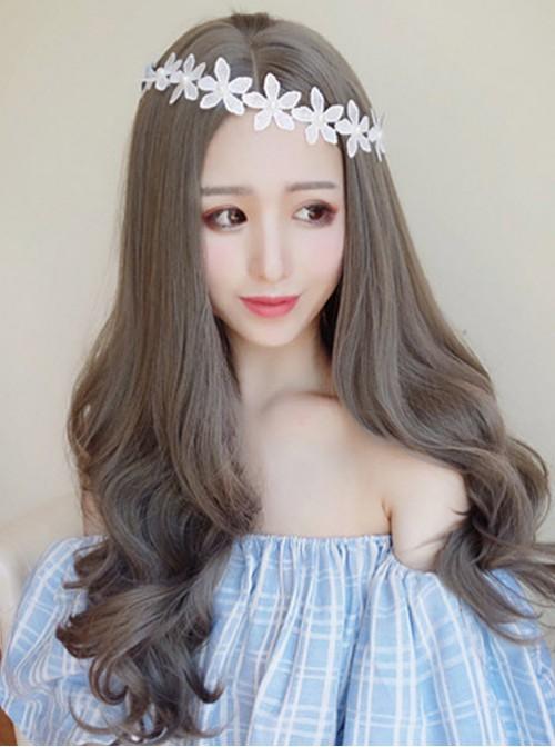 Sweet Centre Parting Grey Long Curls Lolita Wig