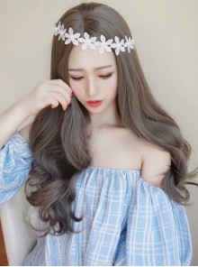 Sweet Centre Parting Grey Long Curls Lolita Wig