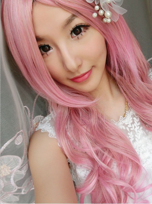 Sweet Pink with Gold Long Curls Lolita Wig