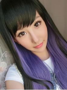 Black Purple Long Curls Lolita Wig