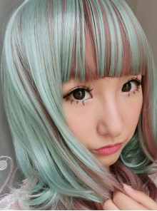 Cyan Rosy Brown Curls Lolita Short Wig