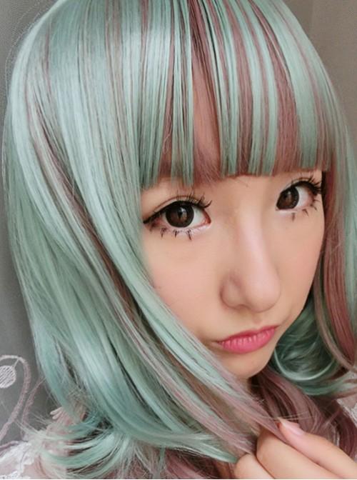 Cyan Rosy Brown Curls Lolita Short Wig