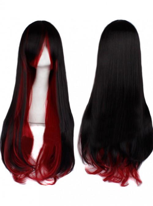 Gothic Black Red Sweet Long Curls Lolita Wig