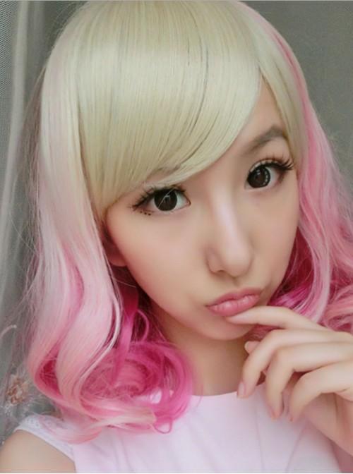 Light Yellow Pink Sweet Short Lolita Wig