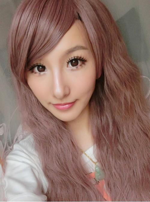 Brown Face Framing Long Curls Lolita Wig