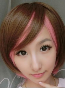 Girl's Sweet Brown Pink Lolita Short Wig