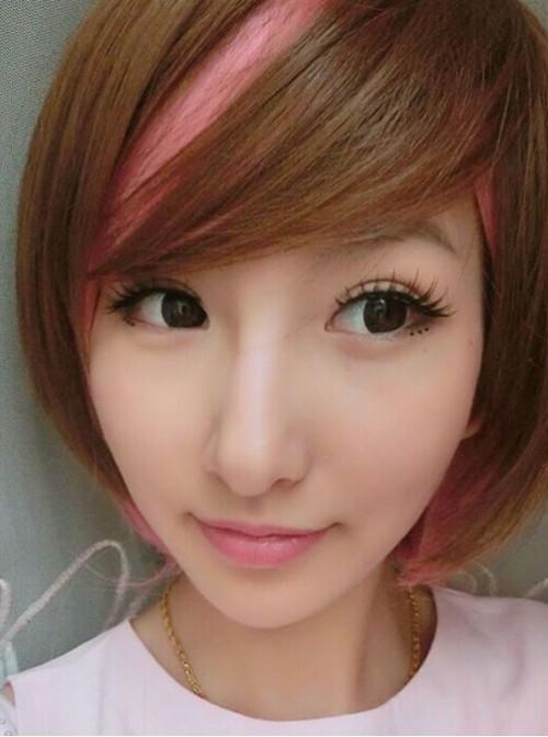 Girl's Sweet Brown Pink Lolita Short Wig