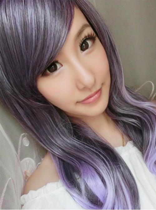 Rosy Brown Purple Curls Sweet Lolita Wig