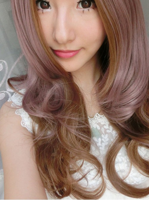 Rosy Brown Sweet Curls Long Lolita Wig