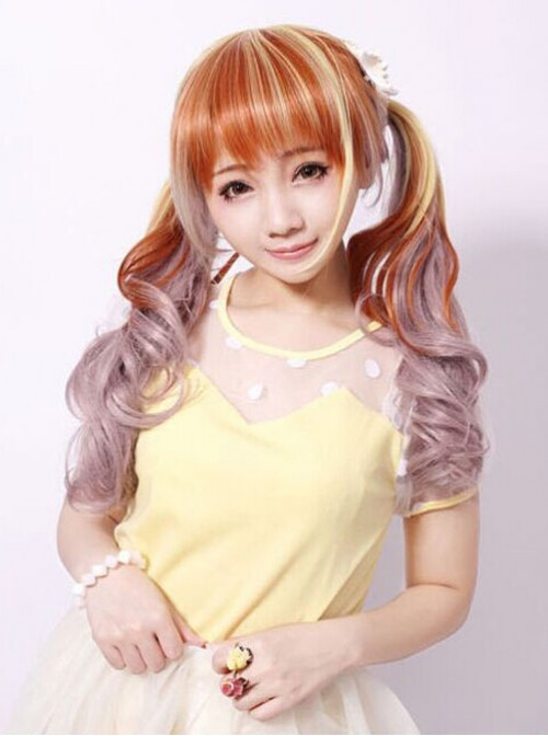 Sweet Housemaid Brown Light Yellow Rosy Brown Long Curls Cosplay Wig