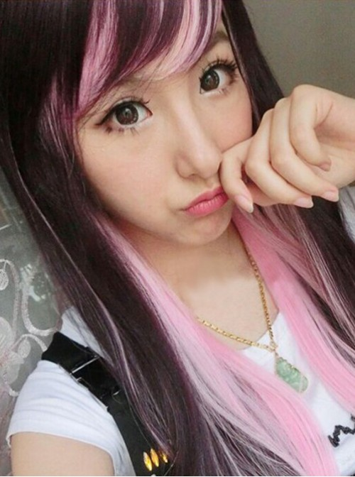 Rosy Brown Light Pink Sweet Long Lolita Straight Wig