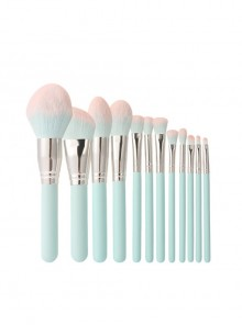 Dreamy Blue And Pink 12 Makeup Brushes Set