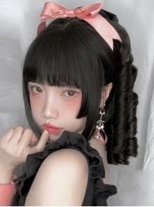 Black Elegant Roman Roll Ponytail Braid Wig Classic Lolita Wigs