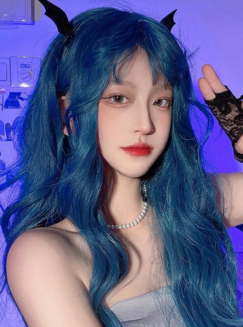 Deep-Sea Blue Natural Curly Bangs Long Curly Wig Classic Lolita Wigs