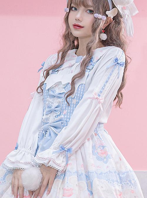 Girlish Heart Series Printing Doll Collar Sweet Lolita White Long Sleeve Bowknot Shirt