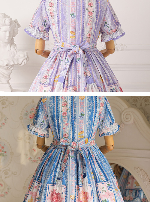 Blueberry Berry Series OP Printing Sweet Lolita Short Sleeve Dress