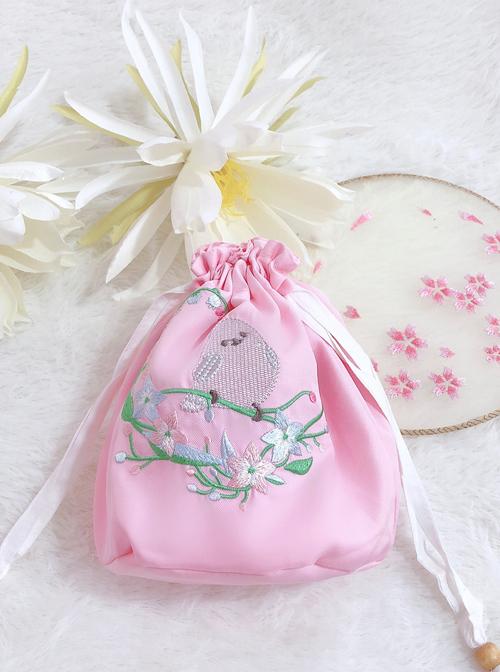 HanFu Pouch Chinese Style Retro Cute Bird Embroidery Handbag
