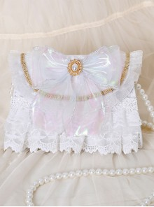 White Lace Pearly-lustre Bowknot Elegant Classic Lolita Pearl Chain Shoulder Bag
