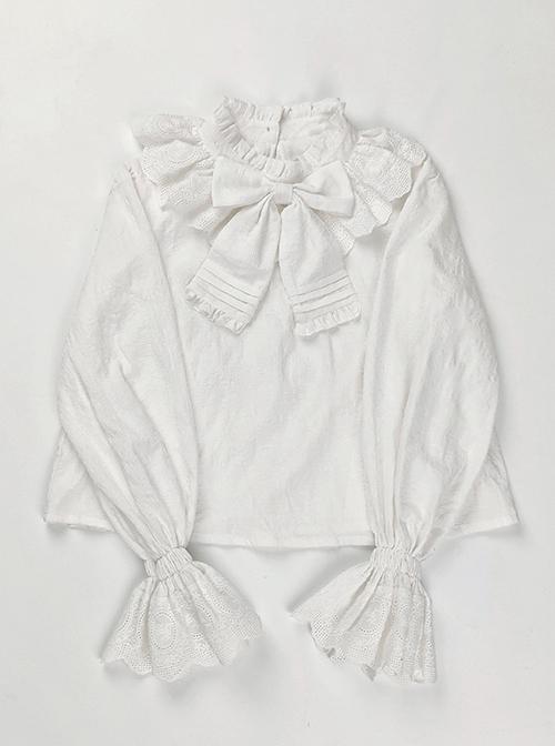 Big Bowknot Cotton Classic Lolita Long Sleeve Big Size Shirt