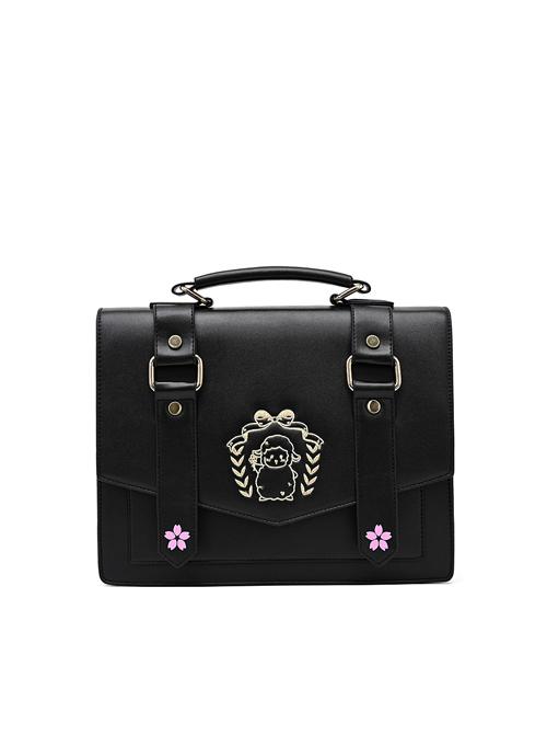 Cute Lamb Embroidery School Lolita Shoulder Bag