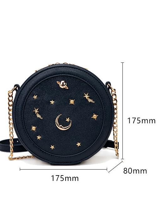 Classic Lolita Starry Sky Rivet Decoration Chain Shoulder Small Round Bag