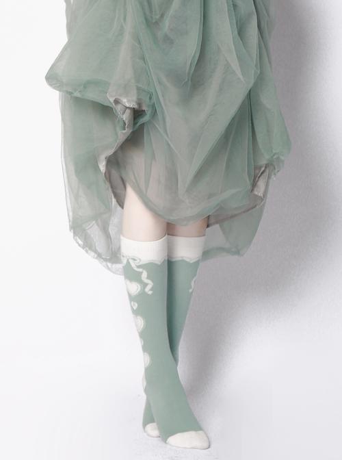 Cute Heart Pattern Sweet Lolita Green Spring Socks