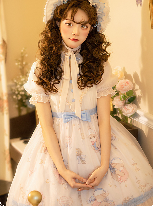 Good Night Fairy Tale Series OP Sweet Lolita Chiffon Short Sleeve Dress Full Set