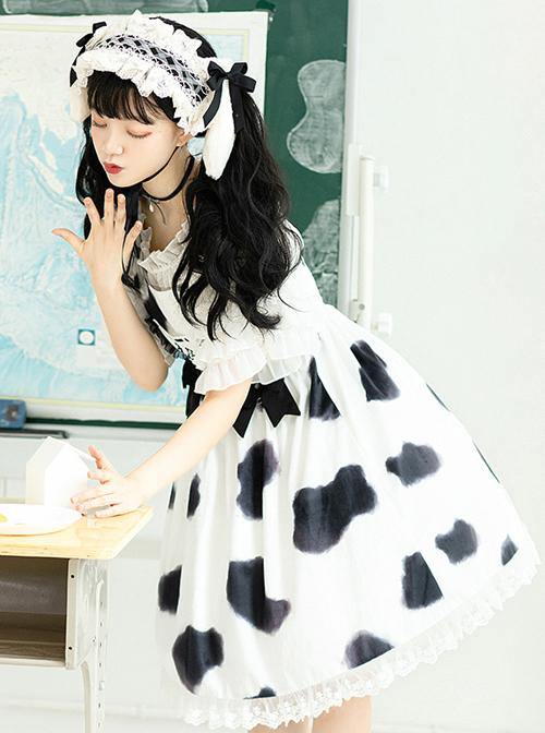 Cow Puffs Series JSK Printing Sweet Lolita Sling Dress