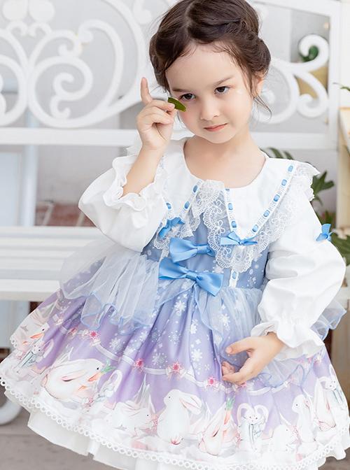 Cute Rabbits Printing Sweet Lolita Light Blue Children Long Sleeve Dress