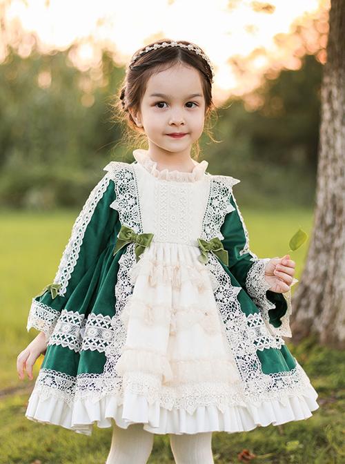 Apricot Lace Green Velour Children Classic Lolita Long Sleeve Dress