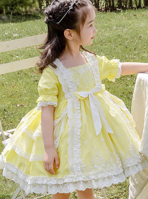 White Lace Yellow Cotton Children Sweet Lolita Short Sleeve Dress