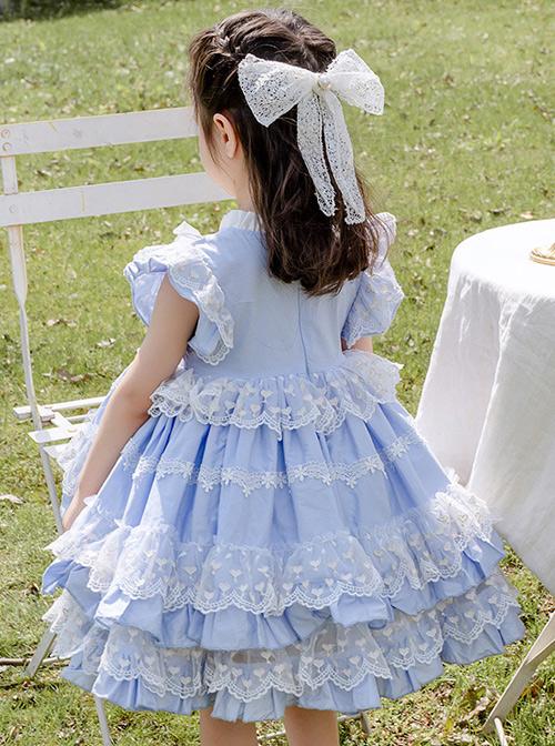 Light Blue Cotton Ruffle Children Sweet Lolita Sleeveless Dress