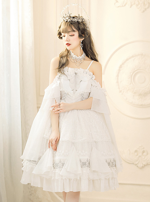 Thames God Series JSK White Chiffon Classic Lolita Elegant Tea Party Sling Dress