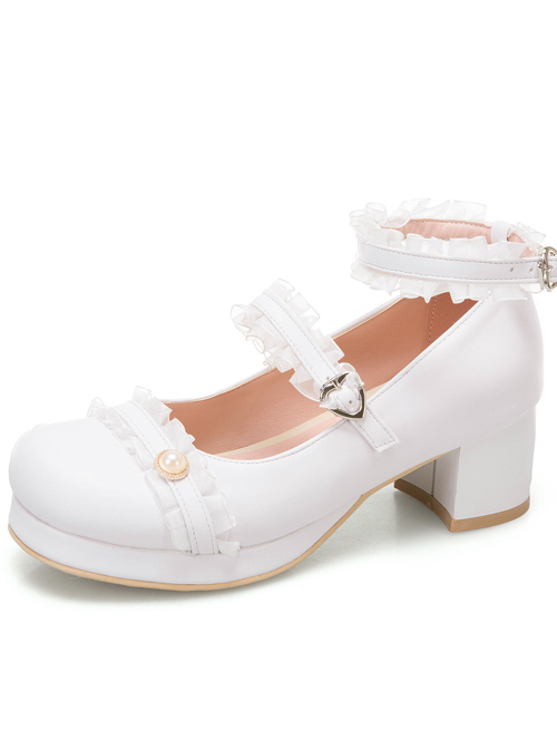 Frill Lace Simplicity Elegant Thick Heel Classic Lolita High Heel Shoes