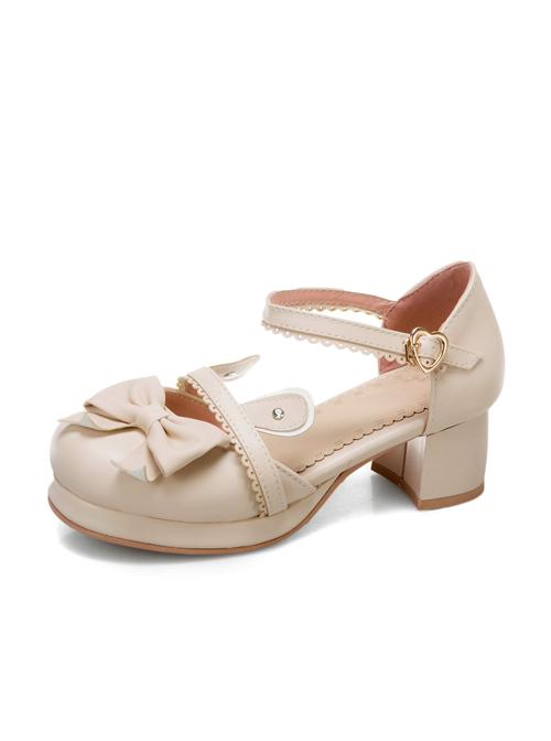Cute Rabbit Ears Bowknot Sweet Lolita Thick Heel High Heel Shoes
