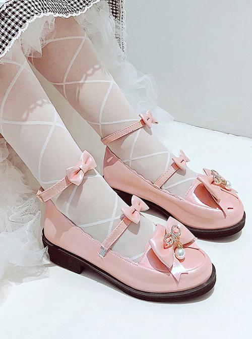JK British PU Leather Shoes Bowknot Classic Lolita Flat Shoes