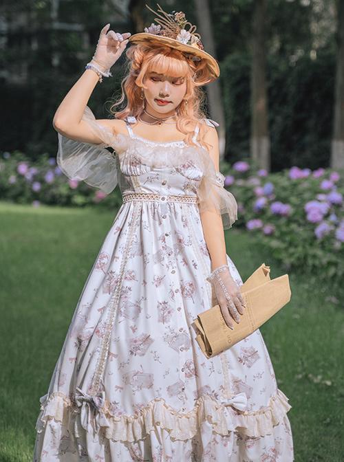 Everlasting Love Series JSK Elegant Printing Classic Lolita Sling Dress