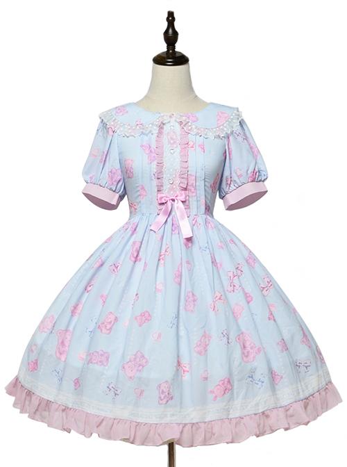Jelly Bear Series OP Cute Printing Sweet Lolita Short Sleeve Dress