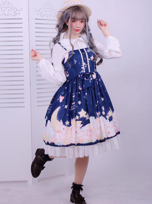 Star Moon Rabbit Series JSK Cute Printing Chiffon Sweet Lolita Sling Dress