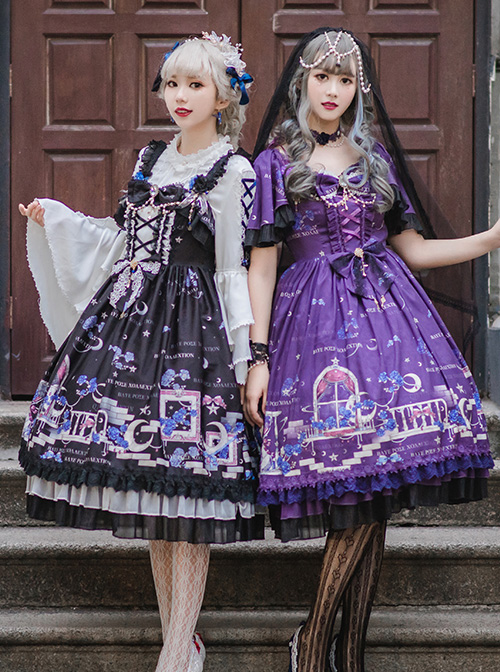 Blue Enchantress Series OP Gorgeous Classic Lolita Short Sleeve Dress
