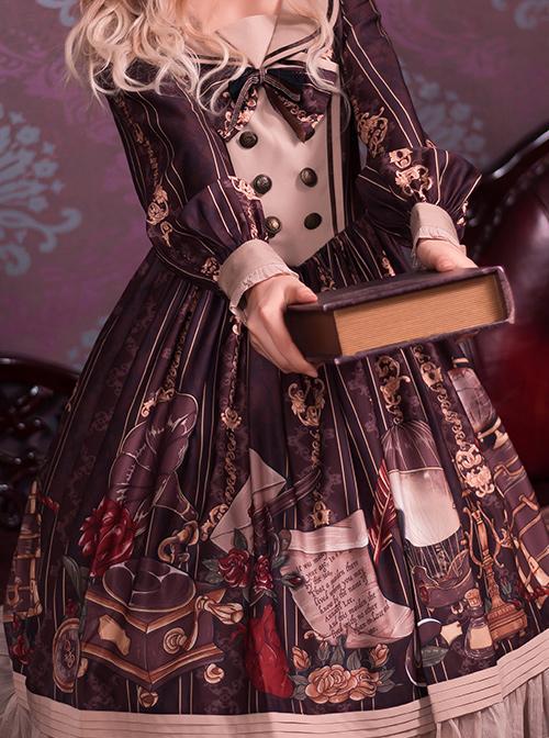 Travelers Series OP Printing Retro Classic Lolita Long Sleeve Dress