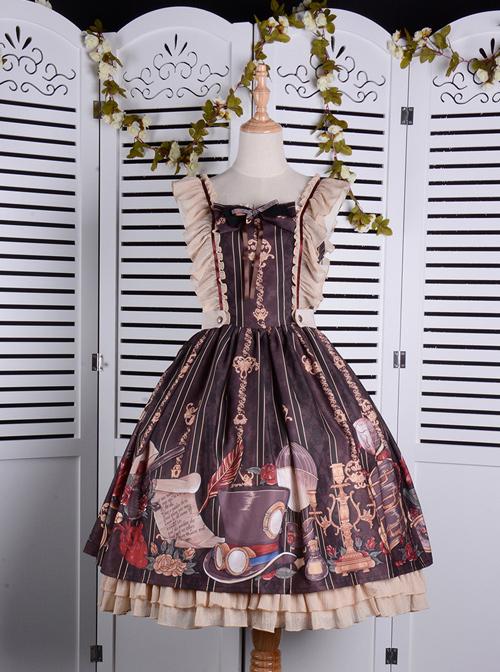 Travelers Series JSK Printing Retro Classic Lolita Ruffle Sling Dress
