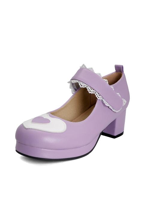 Cute Heart Pattern Thick Heel Sweet Lolita Velcro High Heel Shoes