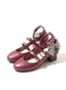 Retro Mary Jane Bowknot Thick Heel Classic Lolita Middle Heel Shoes