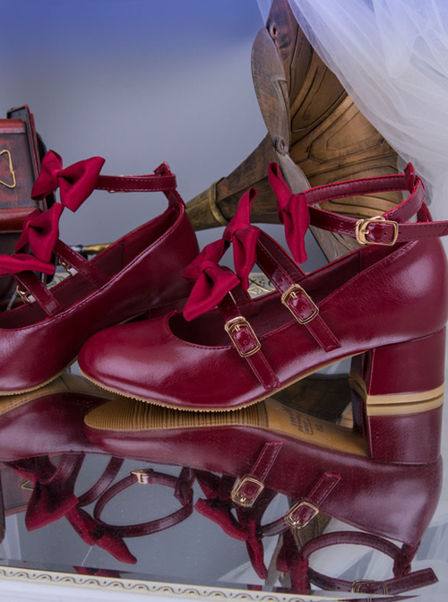 Elegant Bowknots Thick Heel Retro Classic Lolita Middle Heel Shoes